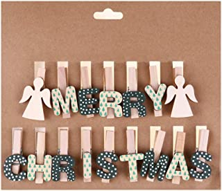 Merry Christmas Clips Wooden Clips with Angel for Xmas Home Party Decoration Photo Prop – Green