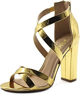 69b669bb97ec Ollio Women s Shoes Faux Suede or Faux Leather Ankle Toe Cross Strap Zip Up  High Heels
