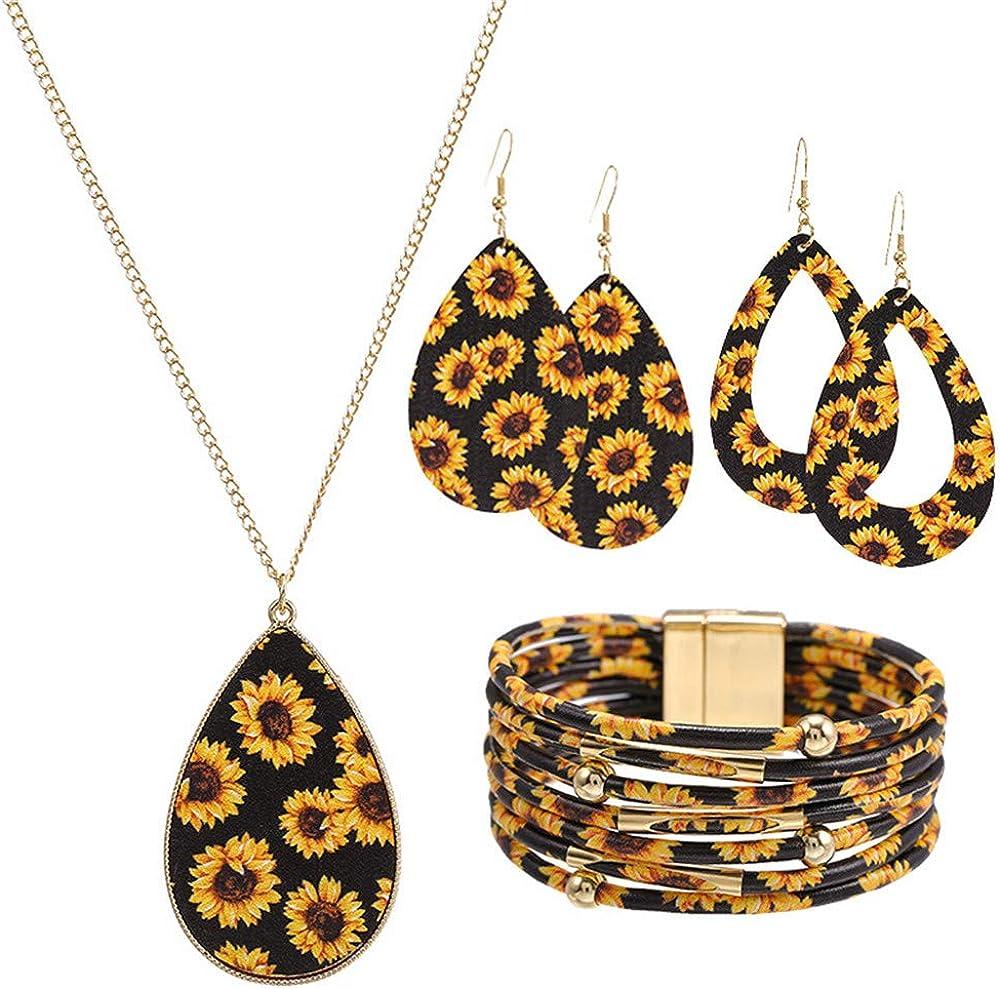 Statement Daisy Jewelry Set for Women Leather Bracelet Teardrop Drop Dangle Earrings Long Tassel Pendant Necklace Christmas Day Necklace Earrings Gift