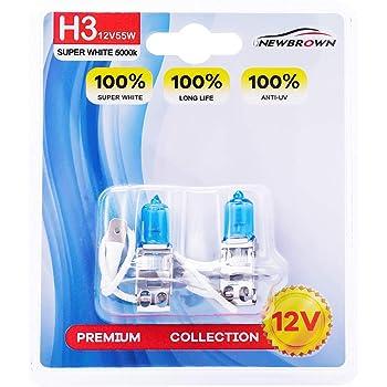 H3 Halogen Headlight Bulb with Super White Light PK22S 12V/55W 5000K, 2 Pack, 1 Yr Warranty
