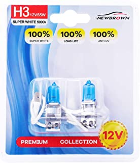 H3 Halogen Headlight Bulb with Super White Light PK22S 12V/55W 5000K, 2 Pack, 1 Yr Warranty