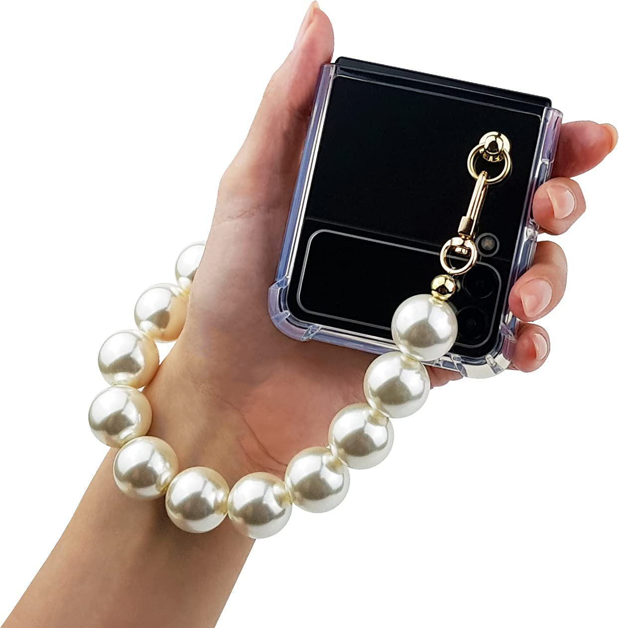 Qoosan Bling Beads Wrist Strap Clear Cover for Samsung Galaxy Z Flip 3 Case 5G (2021) for Women, Pearl