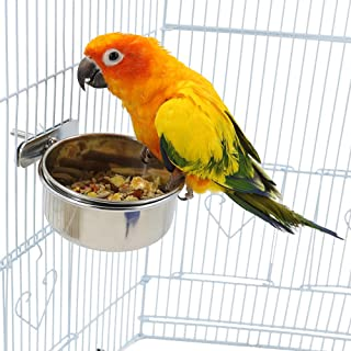 Bird Cage Seed Feeder Pet Food Water Bowl Stainless Steel Parrot Feeding Coop Cup Dish with Clamp Holder for Medium and Large Parrots, Sun Conures, Caique, Cockatoo, African Grey, Macaws, Amazon