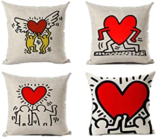 Andreannie Set of 4 Keith Haring's Graffiti-Art Printing Cotton Linen Throw Pillow Case Personalized Cushion Cover Decorat...