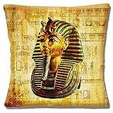 EGIPCIO TUTANKAMON Máscara antigua símbolos multicolor - 16' (40cm) Funda De Cojín