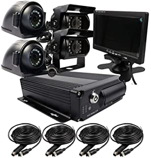 JOINLGO 4 Channel H.264 2.0MP 1080P AHD Dual SD Drive Mobile Vehicle Car DVR MDVR Video Recorder Kit Night Vision Waterproof Side Front Rear View Car Camera 7 inches VGA Car Monitor