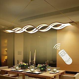 Nowoczesny żyrandol, lampa wisząca LED, 60 W, lampa sufitowa do salonu, sypialni, jadalni, ściemniana z pilotem zdalnego s...