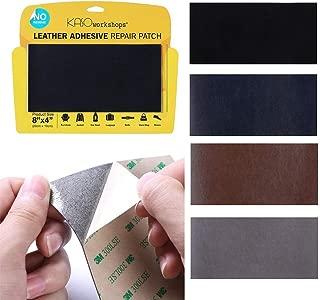 KASOworkshops Leather Repair Patch for Sofas Car Seats Handbags Jackets Leather & Vinyl Adhesive Plain 8 x 4 inch Black