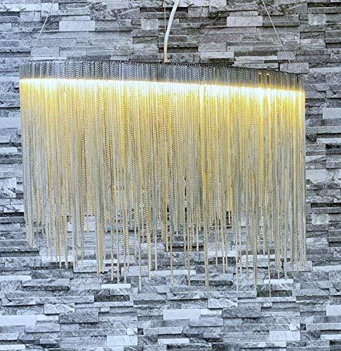 CGC Kwaliteit grote zilveren ketting waterval LED hanglamp ronde ronde plafondlamp met bijpassende voet