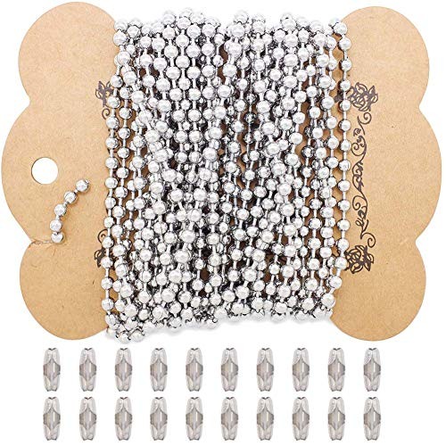 ZCNest 16.4 Ft 304 Stainless Steel Ball Chains with 20 Connector Clasps, Roller Pull Chain Extension Dog Tags Beads Chain for Necklace Bracelet Jewelry Making [Wide 3.2mm] E008-A