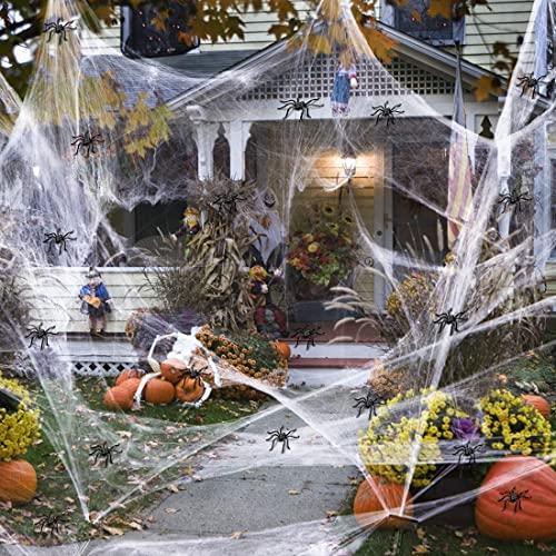 GUAN Halloween White Spinnennetz, Dehnbare Spinnennetze mit 100 Stück Kleine Spinnen Genug, um 1000 m² zu Bedecken ,Halloween-Dekor Partyzubehör für draußen und drinnen (300 g Spinnennetz)