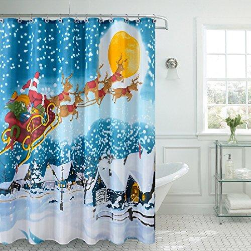 Season 's Greetings Weihnachten Urlaub Fancy Stoff Duschvorhang 100prozent Polyester 177,8cm X