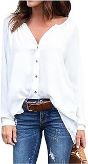 Bestgift feminino blusa tamanho plus com decote em v manga longa com botões de blusa
