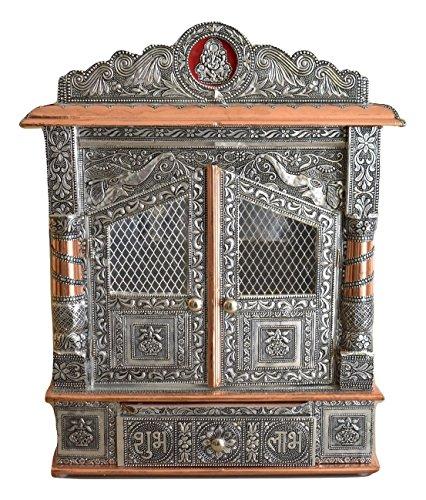Hindu Puja Mandir - Pooja Mandap - Mini Home Wood Temple With Doors - 19 Inches - Medium