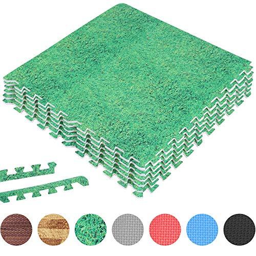 GORILLA SPORTS® Schutzmatten-Set mit Endstücken - Puzzle-/Unterleg-Matten 62 x 62 x 1,2 cm in Grasoptik