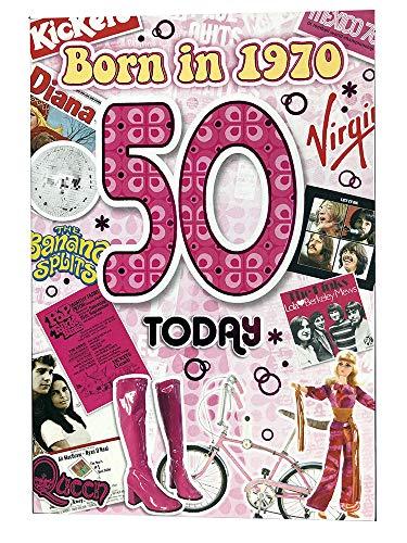 Vrouwelijke 50e Verjaardagskaart (CO-YA213) - 1970 Jaar dat je werd geboren wenskaart voor haar met feiten binnen - Leeftijd 50 - Aantrekkelijke folie afwerking