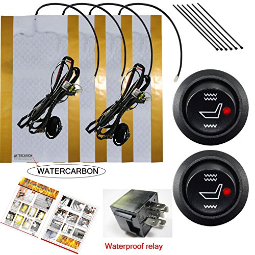 WATERCARBON Water Carbon 12V Premium Heated Seat Kits for Two Seats Universal, Electronic Equipment, Dual Settings