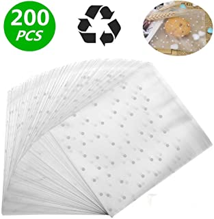 Self Adhesive Treat Bag Cellophane Treat Bags Self-adhesive Sealing Treat Bags White Polka Dot Treat Bags OPP Plastic Bag for Bakery, Candy, Soap, Cookie (5.5 x 5.5 inches, 200 pcs)