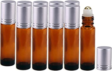 Perfume Studio 10ml Amber Glass Roller Bottles with Aluminum Silver Cap and Stainless Steel Metal Ball Applicator (10, Metal