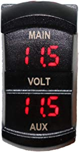 Wallfire LED Digital Voltmeter  5-60V Motorcycle Switch Shape Battery Monitor Voltage Meter Dual Display Panel Car Boat Mini Electric Line Voltage Detector