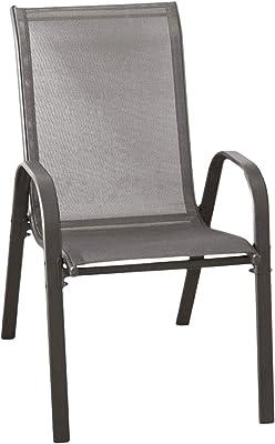 Wohaga/® New York Lot de 4 chaises empilables en Tissu Champagne avec Structure en Acier rev/êtu par pulv/érisation
