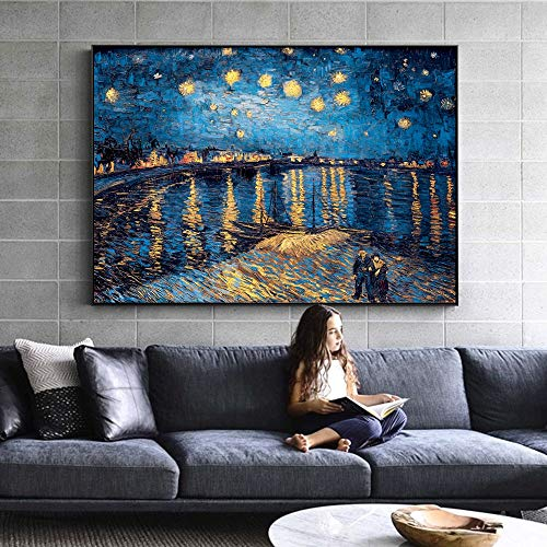 GSOLOYL Painting Van Gogh Nuit Étoilée Peintures Sur Toile Réplique Sur Le Mur Impressionniste Nuit Pour Étoilée Toile Fotos Salón de Cuadros (Taille (pouce) : 60x80cm)