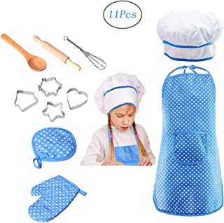 Meihuida Kids Chef Set for Girls, 11Pcs Cooking and Baking Set for Kids Toddler Dress up Pretend Play Kitchen Chef Costume Set with Apron, Chef Hat, Cooking Mitt and Cookie Cutters (Blue)
