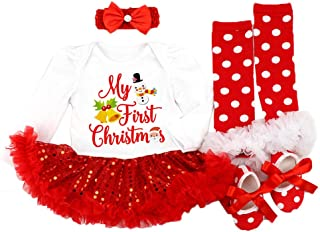 Newborn Baby Girls My First Christmas Long-sleeved Romper Tutu Dress Bow Headdress Long Legs Set Cute Shoes 4PCS Outfit