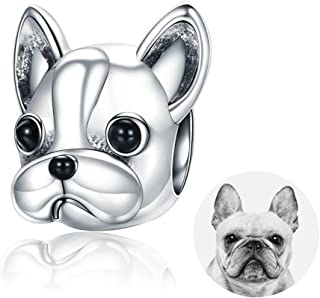 Dog Charm, 925 Sterling Silver Cute Loyal Partners French Bulldog Doggy Animal Pet Bead Charms fit Pandora Charms Bracelets Jewelry, Animal Lovers BJ09001