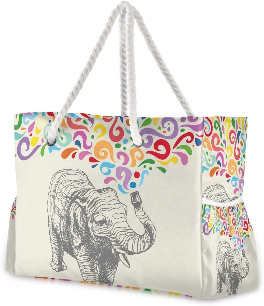 SUABO Beach Bag XXL Elephant Shoulder Colorful With Fountain Max 86% OFF Be Minneapolis Mall