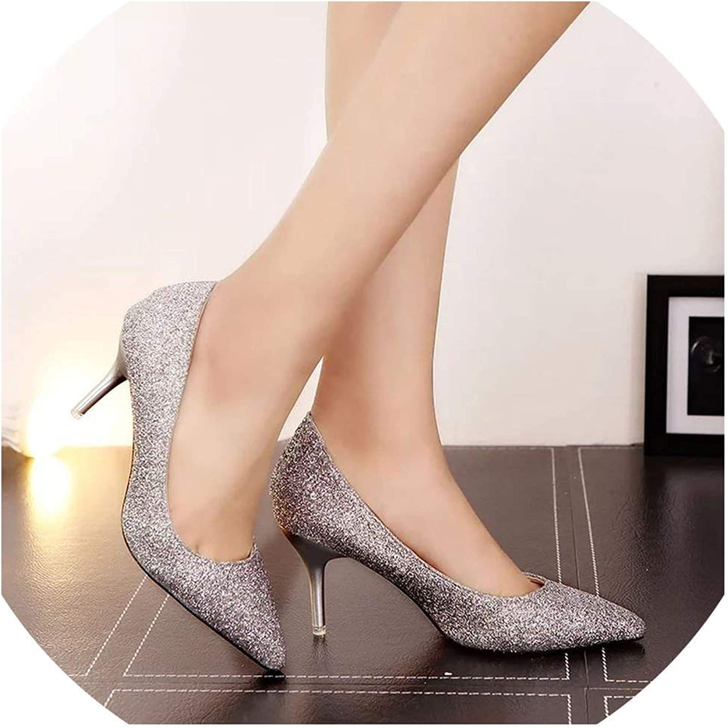 Pointed Toe Woman Sequined Cloth High Heels Glitter Pumps Boat shoes