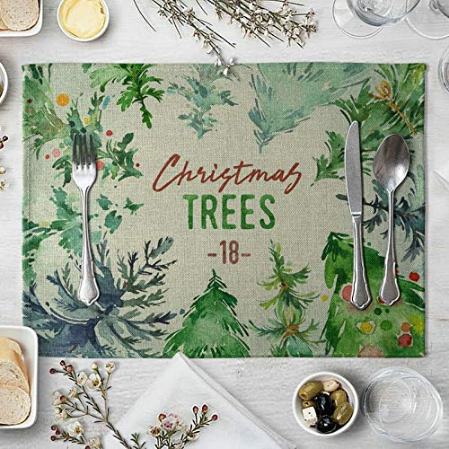 Cotton Linen Placemats 4 Pack 40x30cm, Christmas Trees Green Modern Table Placemats