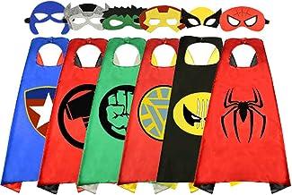 Mantello da Supereroe con Maschere 3 Pezzi Maschere 3 Pezzi Mantelli per Bambini Regali di Compleanno Halloween Partito Mascherata Festa Carnival Costume