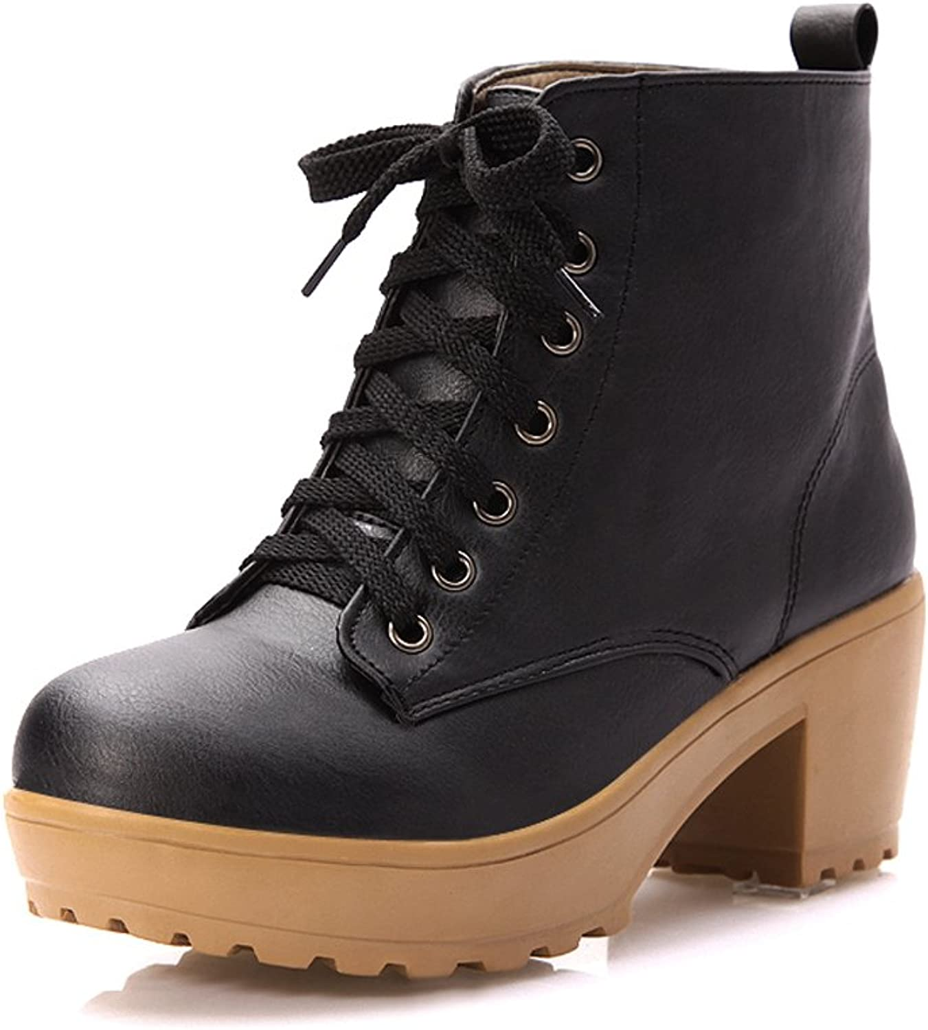 Lucksender Womens Closed Round Toe Platform Lace Up High Chunky Heels PU Boots