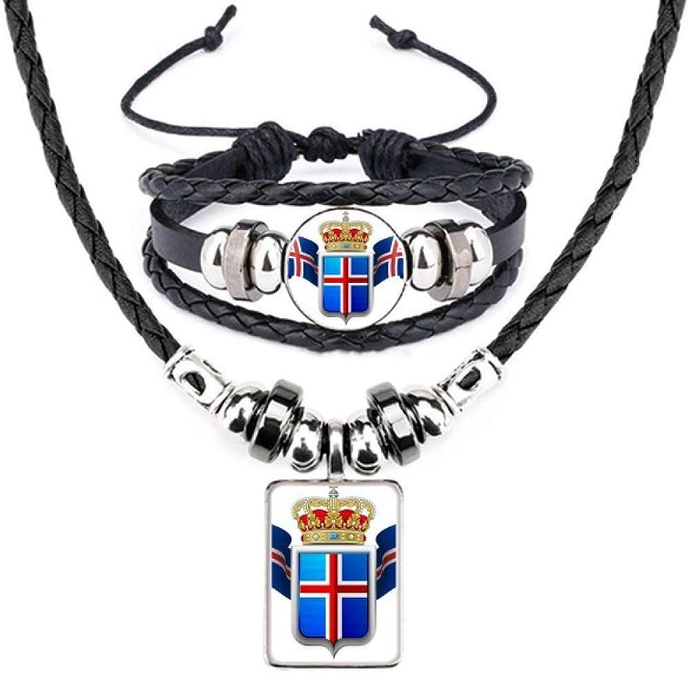 Iceland National Emblem Country Symbol Leather Necklace Bracelet Jewelry Set