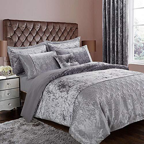3 Piece Santiago Greyish Silver Crushed Velvet Duvet Quilt Cover Bedding Set + 2 Pillow Cases (Double)