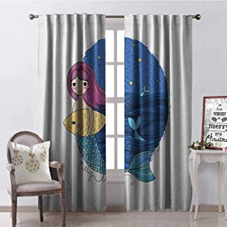 GloriaJohnson Fantasy Wear-Resistant Color Curtain Hand Drawn Style Mermaid Holding a Fish on Backdrop with Seascape at Night Time Waterproof Fabric W42 x L90 Inch Multicolor
