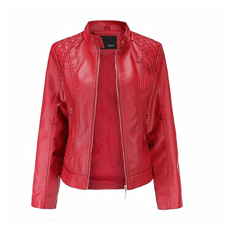 Fall/Winter Women's Slim Leather Stand Collar Zipper Motorcycle Jacket Jacket