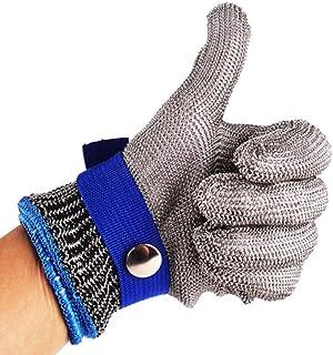 Guanti in filo di acciaio inossidabile, con fascia in polietilene e fibbia in acciaio, di alta qualità e antitaglio