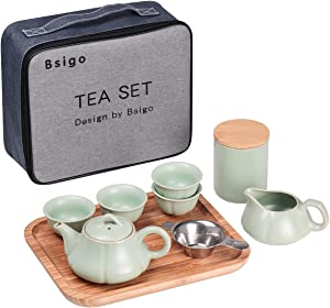 Bsigo Portable Porcelain Teapot-Chinese Tea Set With 1 Tea Pot,4 Teacups,1 Loose Leaf Tea Caniste,1 Stainless Steel Infuser and 1 Tea Tray,All in One Gift Bag for Office Outdoor Picnic Business Hotel