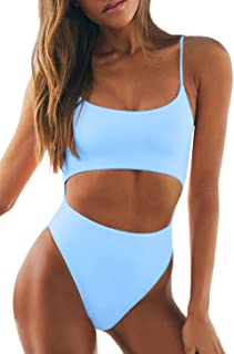 Best Womens Scoop Neck Cut Out Front Lace Up Back High Cut Monokini One Piece Swimsuit Review