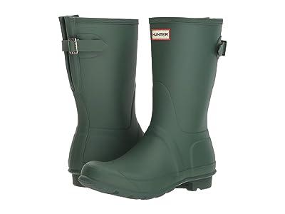 Hunter Original Short Back Adjustable Rain Boots (Hunter Green) Women