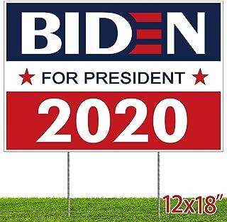 ORIENTAL CHERRY Biden Yard Sign - Joe Biden Harris 2020 Garden Flag with Lawn H-Frames 12x18 - Navy Red