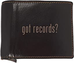 got records? - Soft Cowhide Genuine Engraved Bifold Leather Wallet