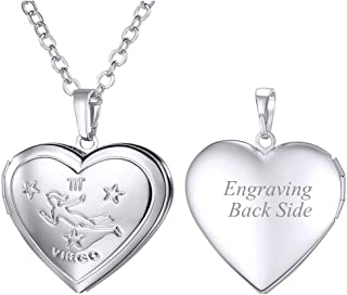 Personalized Constellation Horoscope Jewelry Platinum/Stainless Steel / 18K Gold Plated 12 Zodiac Sign Dog Tags Pendant/Heart Locket Necklace for Men and Women, offer Custom Engrave Service
