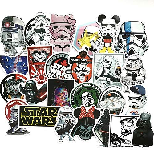 YMSD [25 piezas] Wars, Star PVC Cool Pegatinas de graffiti, pegatinas de chica VSCO para regalos de niños, para portátiles, botellas de agua, monopatines, guitarras, bicicletas, cajas