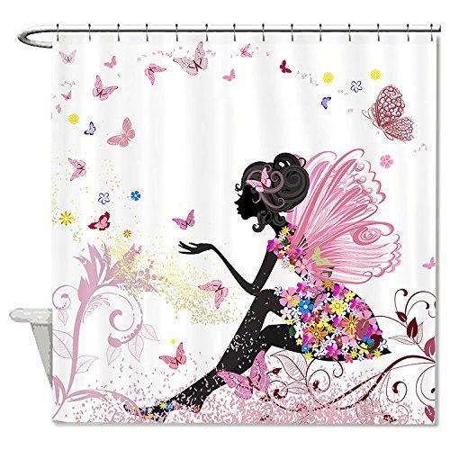 rioengnakg Schimmelresistent Polyester Clip Art Engel mit Schmetterlinge Duschvorhang Polyester Duschvorhang wasserdicht, Polyester, #1, 72