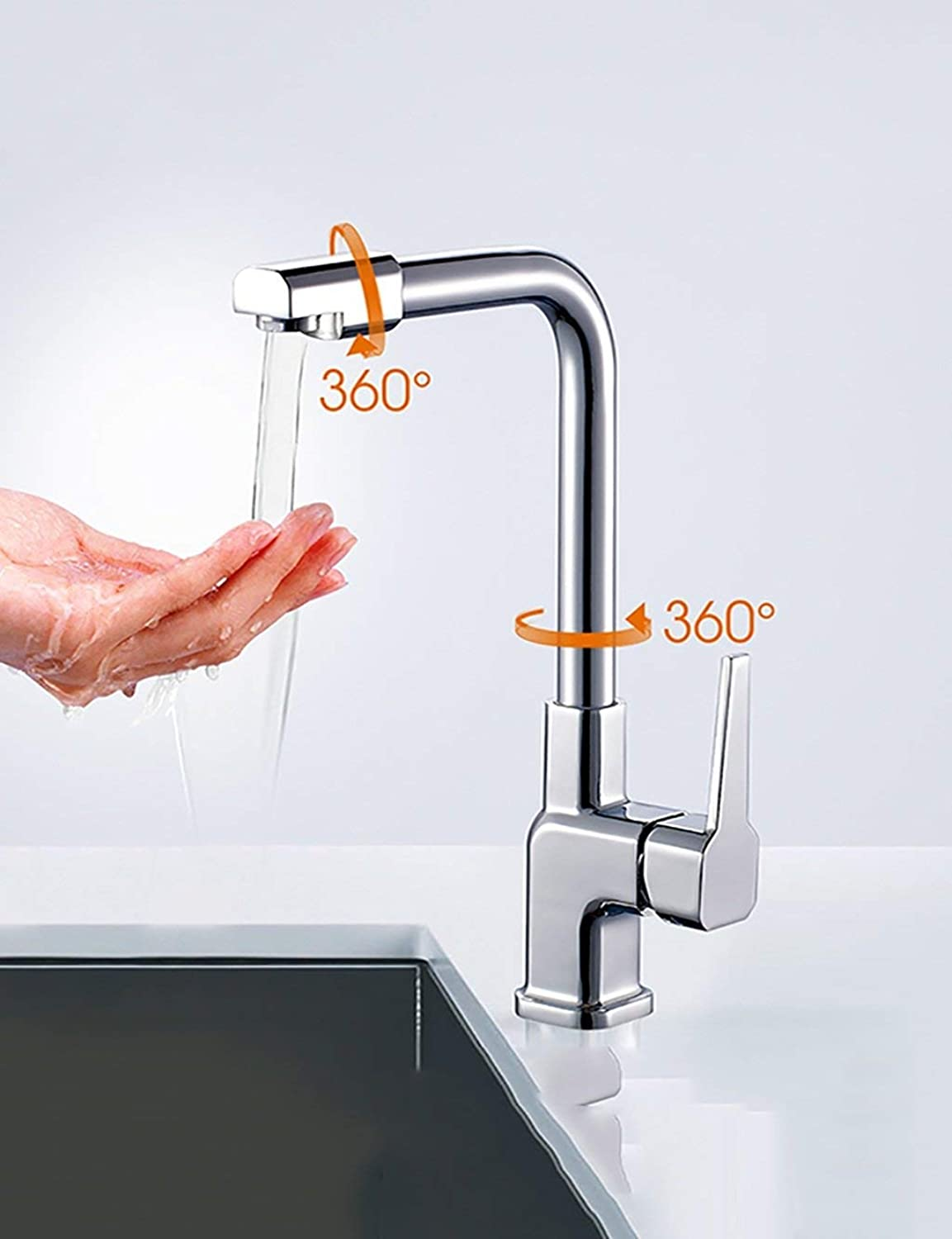 DYR Faucet European Style Simple Modern Household Faucet Stainless Steel Hot And Cold Can Be Turned Single Head Wash The Vegetable Pips Lead Free (color  E)