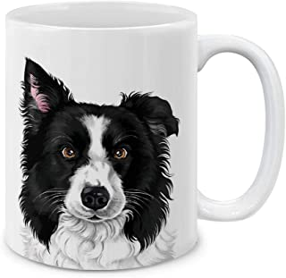 MUGBREW Cute Black and White Border Collie Dog Full Portrait Ceramic Coffee Gift Mug Tea Cup, 11 OZ