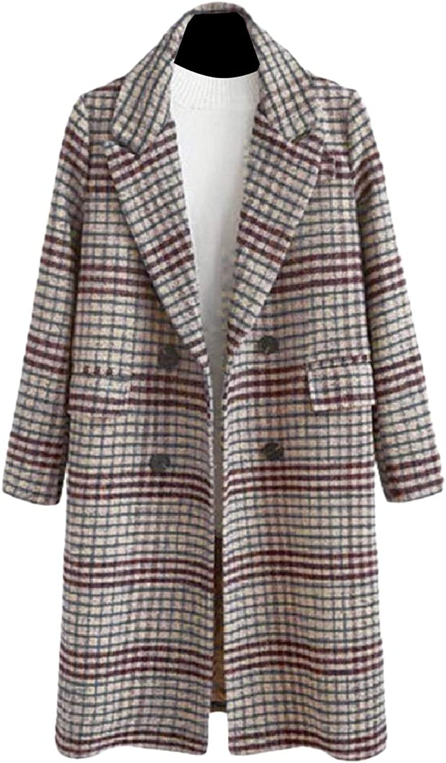 Doanpa Women Notch Lapel Trench Plaid Woolen DoubleBreasted Parka Jacket